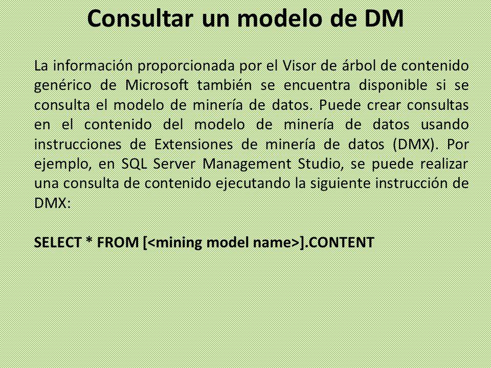 La información proporcionada por el Visor de árbol de contenido genérico de Microsoft también se encuentra disponible si se consulta el modelo de mine