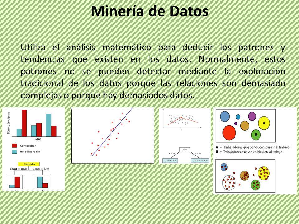 Utiliza el análisis matemático para deducir los patrones y tendencias que existen en los datos. Normalmente, estos patrones no se pueden detectar medi