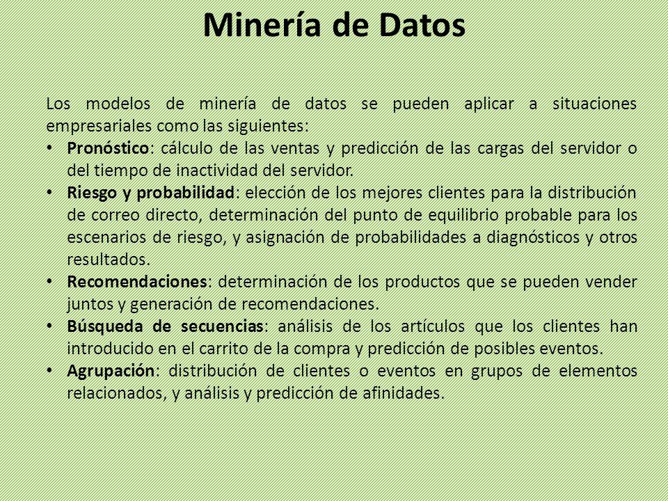 Cada proyecto de minería de datos contiene los cuatro tipos siguientes de objetos: orígenes de datos; vistas del origen de datos, que se basan en los orígenes de datos; estructuras de minería de datos, que definen cómo se utilizan los datos en el modelo; y modelos de minería de datos, que crean y almacenan los patrones.