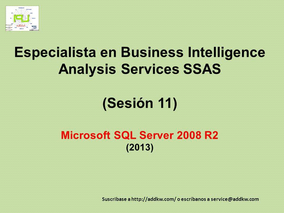Especialista en BI (SSAS) Agenda SQL Server Analysis Services - Datos multidimensionales Dimensiones Dimensiones de tiempo Jerarquia de dimensiones Cubos Implementación de cubos Exploración de cubos Source: SAP AG