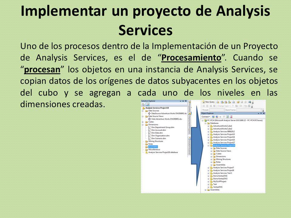 Uno de los procesos dentro de la Implementación de un Proyecto de Analysis Services, es el de Procesamiento.