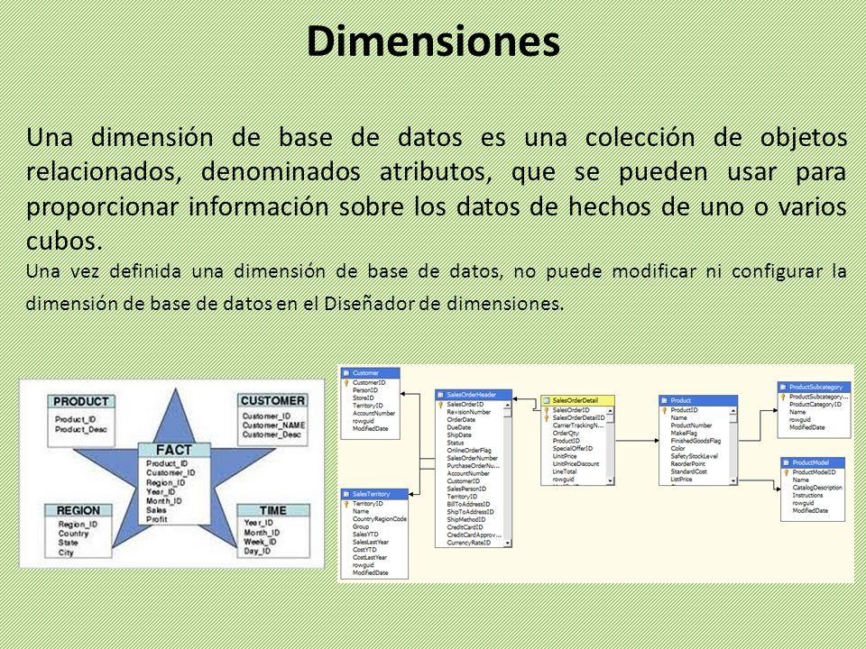 Una dimensión de base de datos es una colección de objetos relacionados, denominados atributos, que se pueden usar para proporcionar información sobre los datos de hechos de uno o varios cubos.