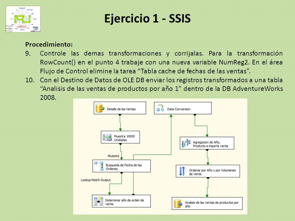 Procedimiento: 9.Controle las demas transformaciones y corrijalas. Para la transformación RowCount() en el punto 4 trabaje con una nueva variable NumR