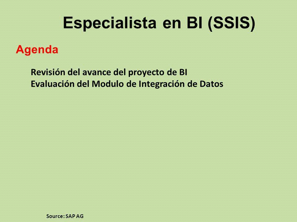 Especialista en BI (SSIS) Agenda Revisión del avance del proyecto de BI Evaluación del Modulo de Integración de Datos Source: SAP AG