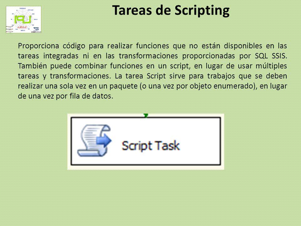 Proporciona código para realizar funciones que no están disponibles en las tareas integradas ni en las transformaciones proporcionadas por SQL SSIS. T