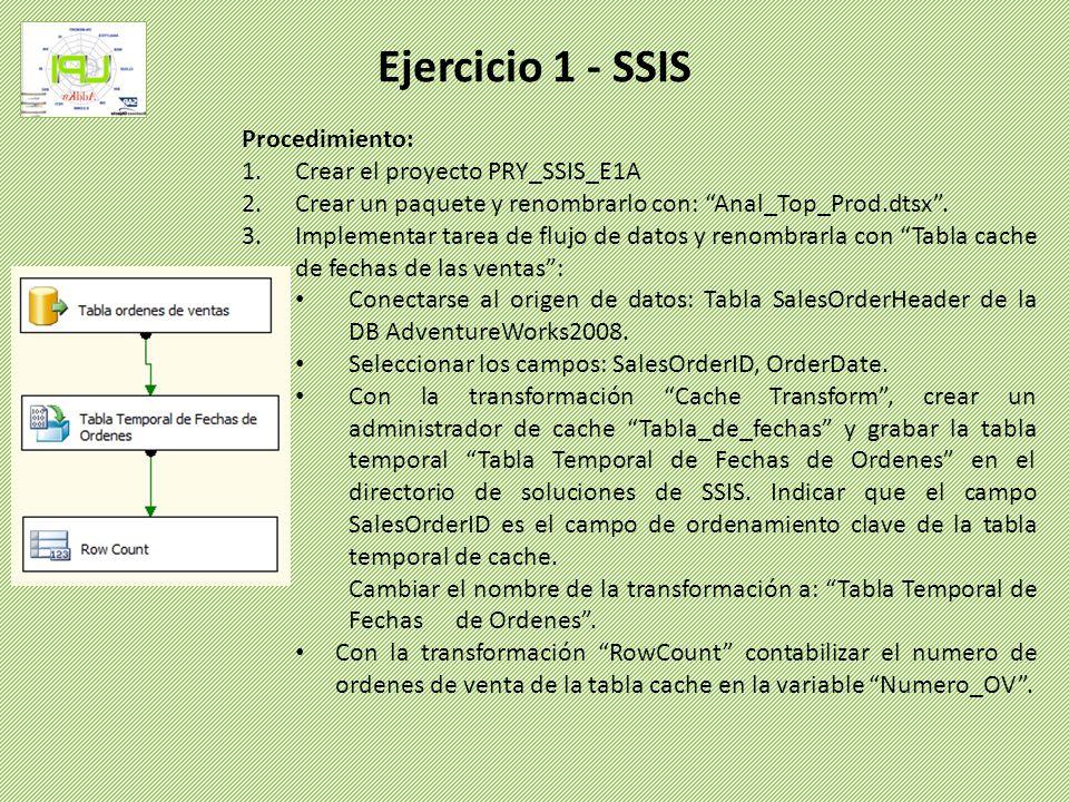 Procedimiento: 1.Crear el proyecto PRY_SSIS_E1A 2.Crear un paquete y renombrarlo con: Anal_Top_Prod.dtsx. 3.Implementar tarea de flujo de datos y reno