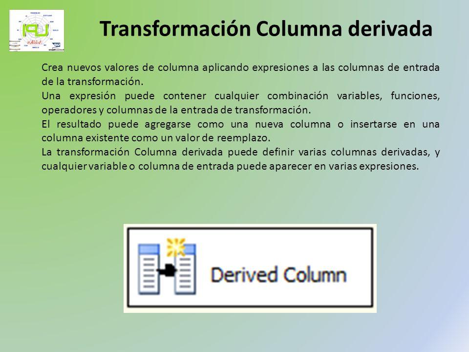 Crea nuevos valores de columna aplicando expresiones a las columnas de entrada de la transformación. Una expresión puede contener cualquier combinació