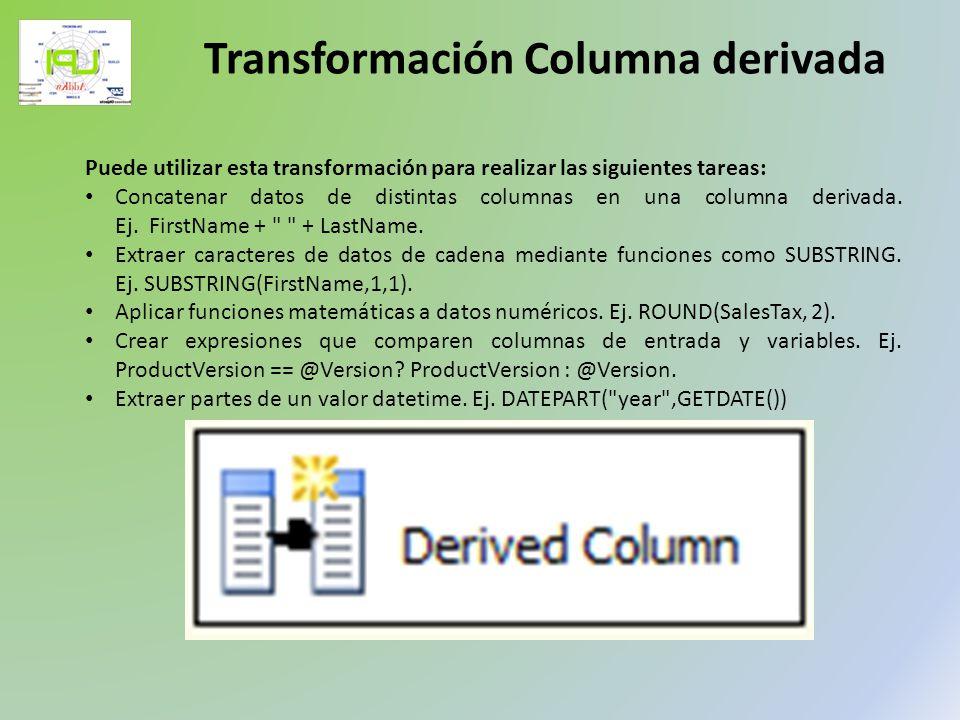Puede utilizar esta transformación para realizar las siguientes tareas: Concatenar datos de distintas columnas en una columna derivada. Ej. FirstName