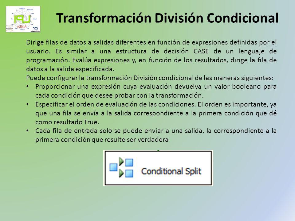 Dirige filas de datos a salidas diferentes en función de expresiones definidas por el usuario. Es similar a una estructura de decisión CASE de un leng