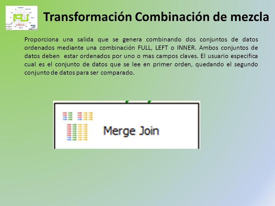 Proporciona una salida que se genera combinando dos conjuntos de datos ordenados mediante una combinación FULL, LEFT o INNER. Ambos conjuntos de datos