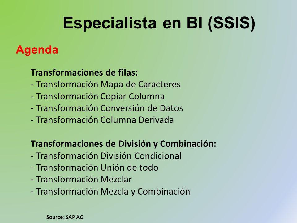 Especialista en BI (SSIS) Agenda Transformaciones de filas: - Transformación Mapa de Caracteres - Transformación Copiar Columna - Transformación Conve