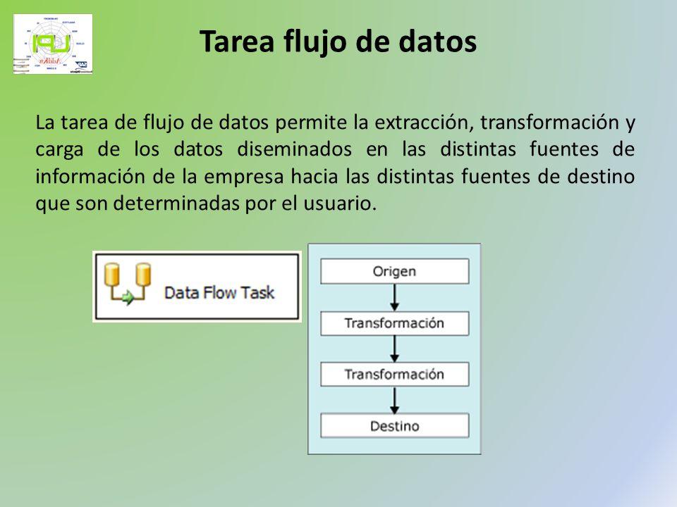 La tarea de flujo de datos permite la extracción, transformación y carga de los datos diseminados en las distintas fuentes de información de la empres