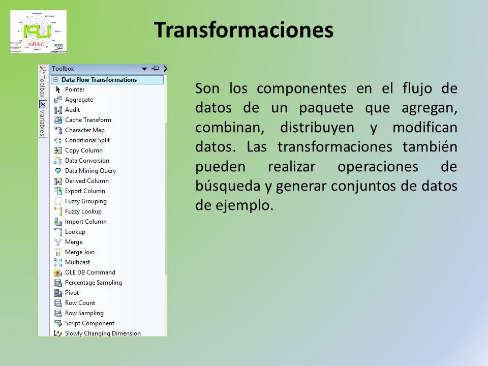 Son los componentes en el flujo de datos de un paquete que agregan, combinan, distribuyen y modifican datos. Las transformaciones también pueden reali