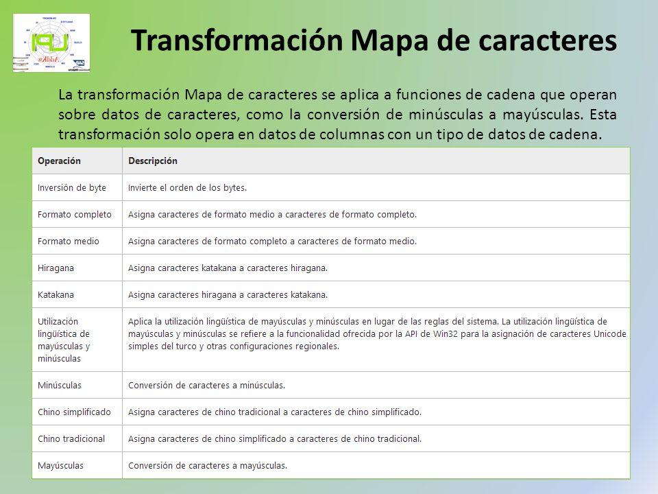 La transformación Mapa de caracteres se aplica a funciones de cadena que operan sobre datos de caracteres, como la conversión de minúsculas a mayúscul