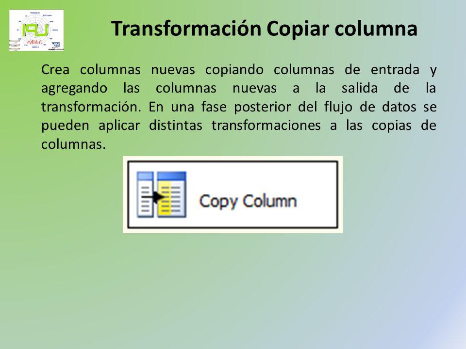 Crea columnas nuevas copiando columnas de entrada y agregando las columnas nuevas a la salida de la transformación. En una fase posterior del flujo de