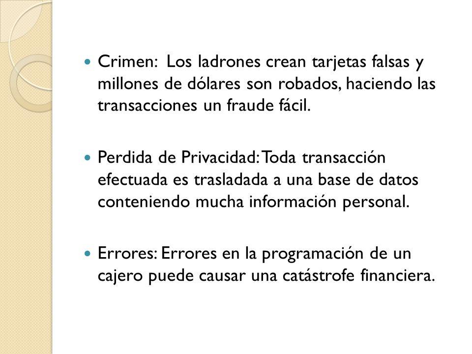Crimen: Los ladrones crean tarjetas falsas y millones de dólares son robados, haciendo las transacciones un fraude fácil.