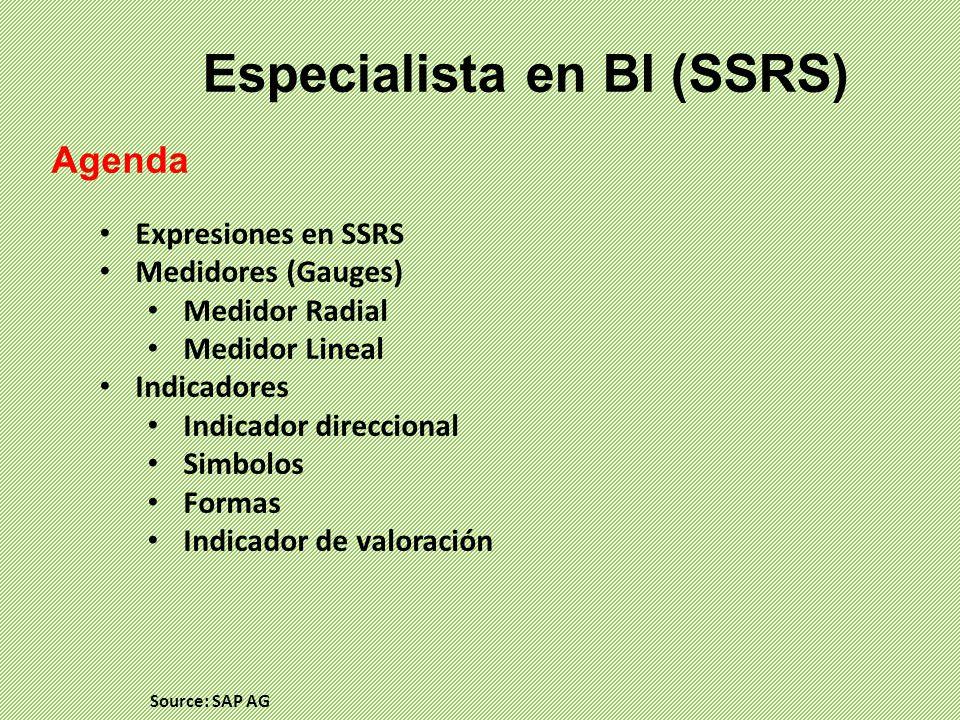 Especialista en BI (SSRS) Agenda Expresiones en SSRS Medidores (Gauges) Medidor Radial Medidor Lineal Indicadores Indicador direccional Simbolos Formas Indicador de valoración Source: SAP AG