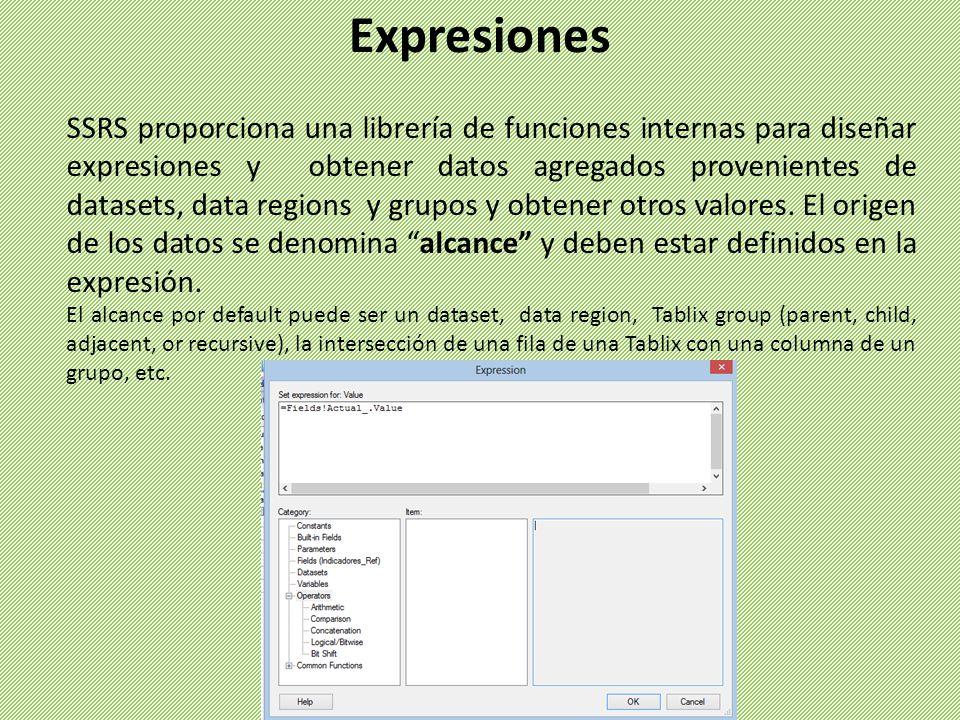 Expresiones SSRS proporciona una librería de funciones internas para diseñar expresiones y obtener datos agregados provenientes de datasets, data regions y grupos y obtener otros valores.