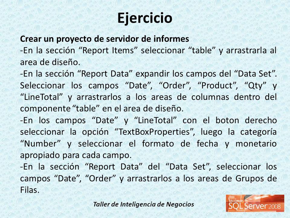 Taller de Inteligencia de Negocios Ejercicio Crear un proyecto de servidor de informes -En la sección Report Items seleccionar table y arrastrarla al