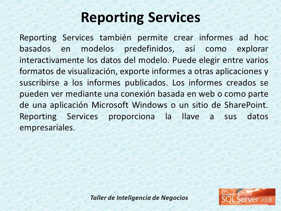 Taller de Inteligencia de Negocios Reporting Services también permite crear informes ad hoc basados en modelos predefinidos, así como explorar interac