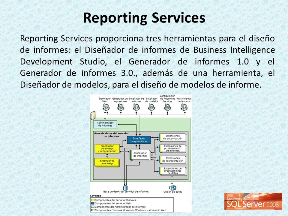 Taller de Inteligencia de Negocios Reporting Services proporciona tres herramientas para el diseño de informes: el Diseñador de informes de Business I