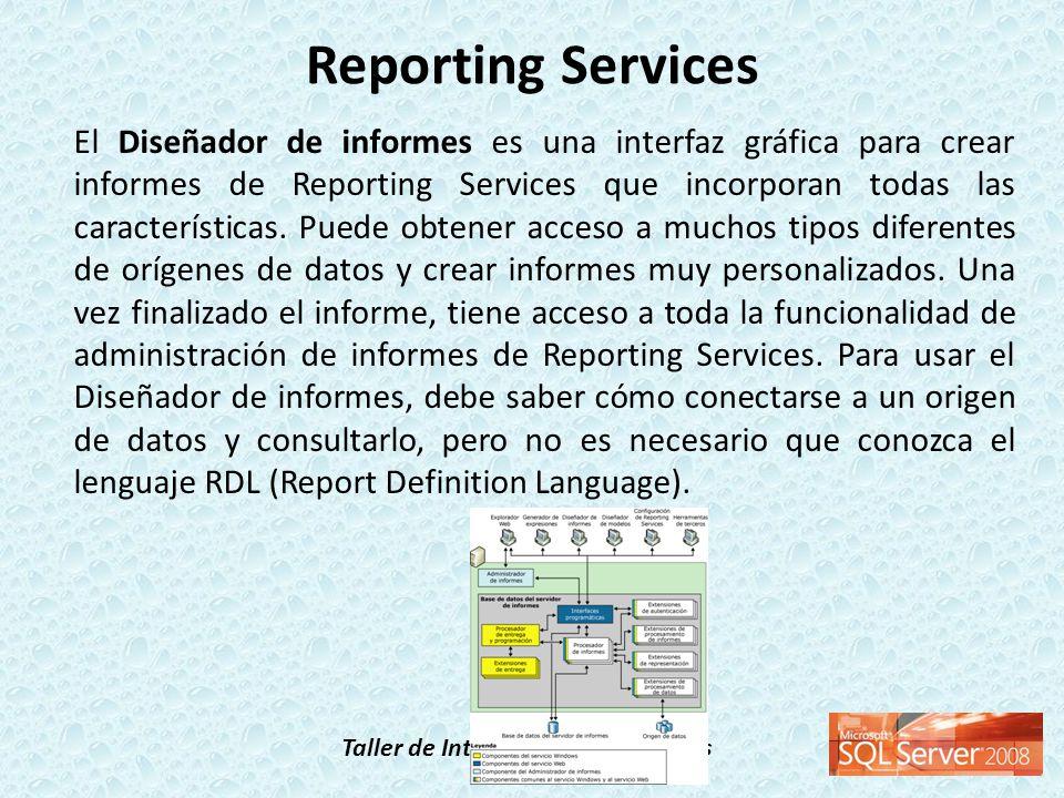 Taller de Inteligencia de Negocios El Diseñador de informes es una interfaz gráfica para crear informes de Reporting Services que incorporan todas las