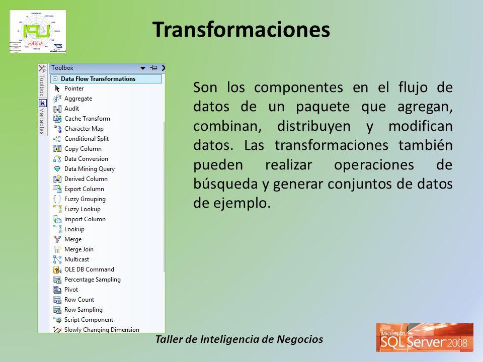Taller de Inteligencia de Negocios Son los componentes en el flujo de datos de un paquete que agregan, combinan, distribuyen y modifican datos. Las tr