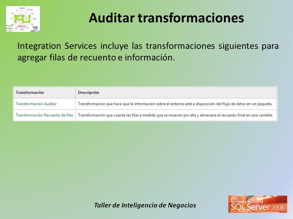 Taller de Inteligencia de Negocios Integration Services incluye las transformaciones siguientes para agregar filas de recuento e información. Auditar