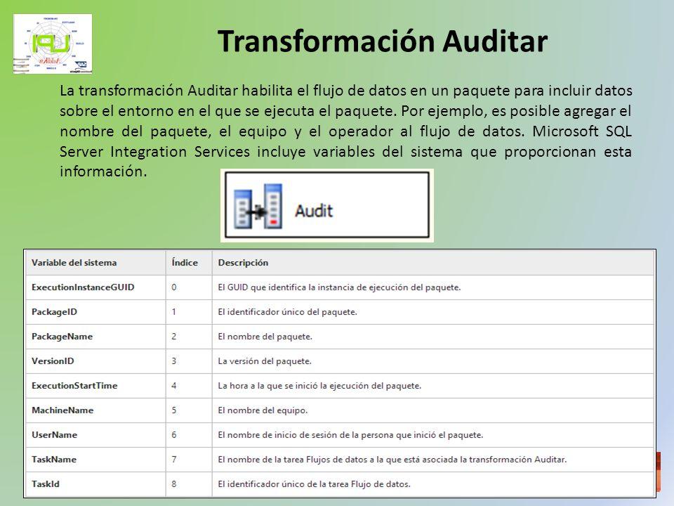 Taller de Inteligencia de Negocios La transformación Auditar habilita el flujo de datos en un paquete para incluir datos sobre el entorno en el que se