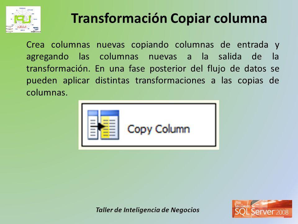 Taller de Inteligencia de Negocios Convierte los datos de una columna de entrada a otro tipo de datos diferente y después los copia a una nueva columna de salida.