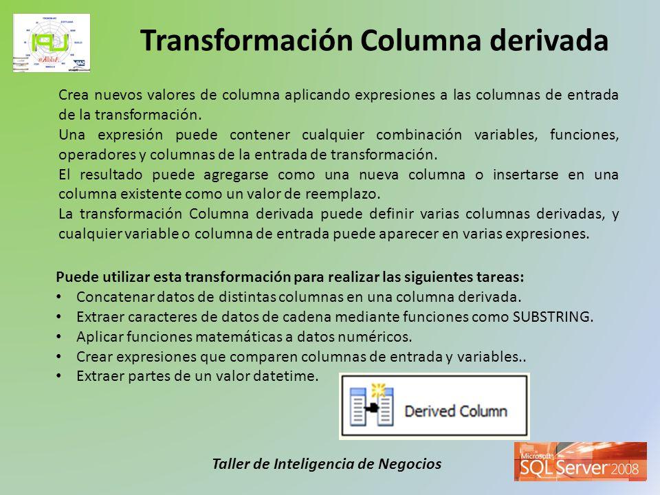 Taller de Inteligencia de Negocios Las siguientes transformaciones distribuyen filas a diferentes salidas, crean copias de las entradas de transformación, combinan varias entradas en una salida y realizan operaciones de búsqueda.