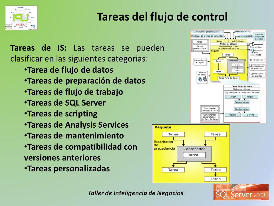 Taller de Inteligencia de Negocios La tarea de flujo de datos permite la extracción, transformación y carga de los datos diseminados en las distintas fuentes de información de la empresa hacia las distintas fuentes de destino que son determinadas por el usuario.