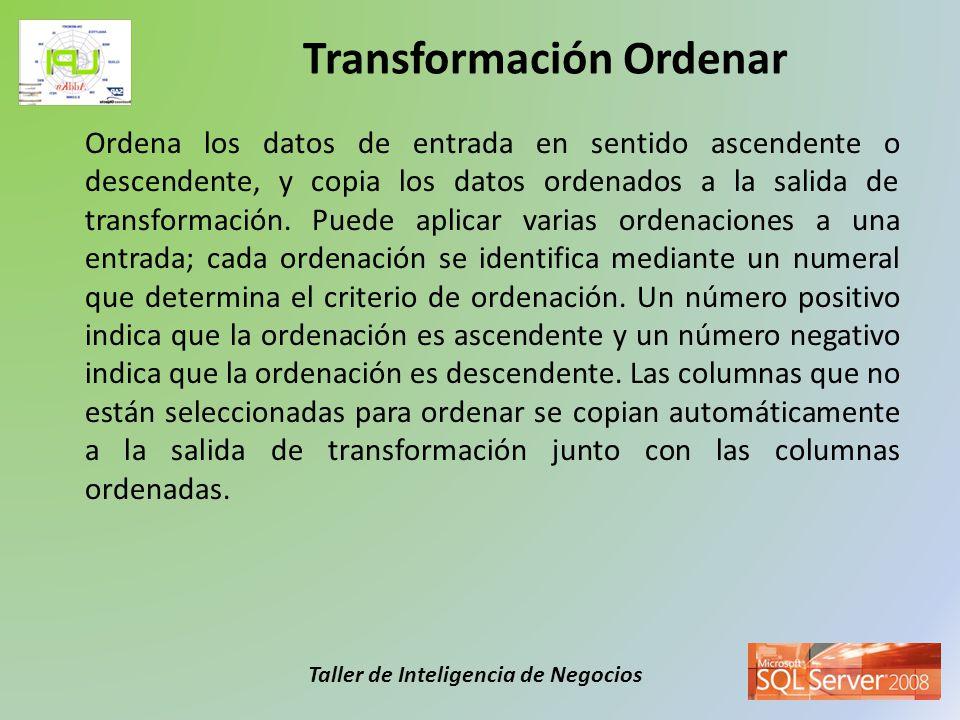 Taller de Inteligencia de Negocios Crea un conjunto de datos de muestra seleccionando un porcentaje de las filas de entrada de la transformación.