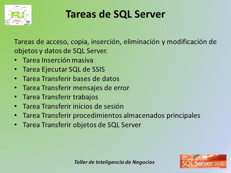 Taller de Inteligencia de Negocios Tareas de acceso, copia, inserción, eliminación y modificación de objetos y datos de SQL Server. Tarea Inserción ma