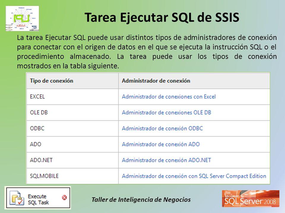 Taller de Inteligencia de Negocios La tarea Ejecutar SQL puede usar distintos tipos de administradores de conexión para conectar con el origen de dato