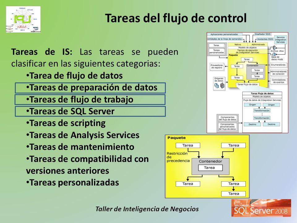 Taller de Inteligencia de Negocios Tareas de IS: Las tareas se pueden clasificar en las siguientes categorias: Tarea de flujo de datos Tareas de prepa