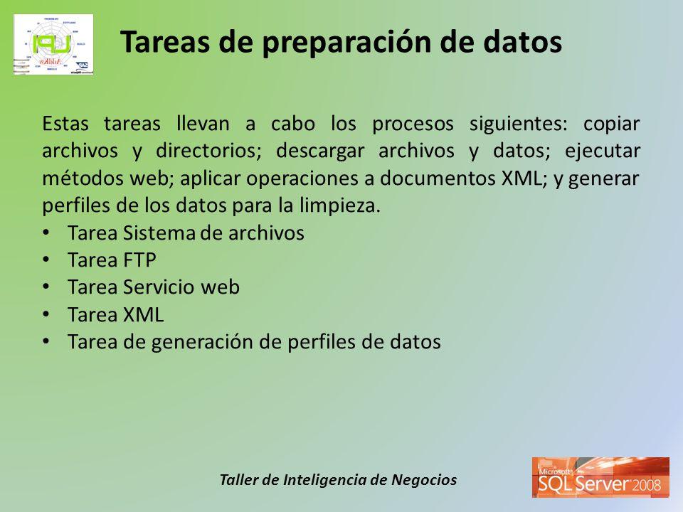 Taller de Inteligencia de Negocios Estas tareas llevan a cabo los procesos siguientes: copiar archivos y directorios; descargar archivos y datos; ejec