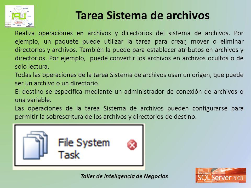 Taller de Inteligencia de Negocios La tarea Ejecutar SQL puede usar distintos tipos de administradores de conexión para conectar con el origen de datos en el que se ejecuta la instrucción SQL o el procedimiento almacenado.