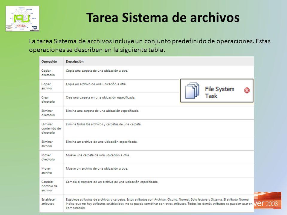 Taller de Inteligencia de Negocios Tarea Sistema de archivos La tarea Sistema de archivos incluye un conjunto predefinido de operaciones. Estas operac