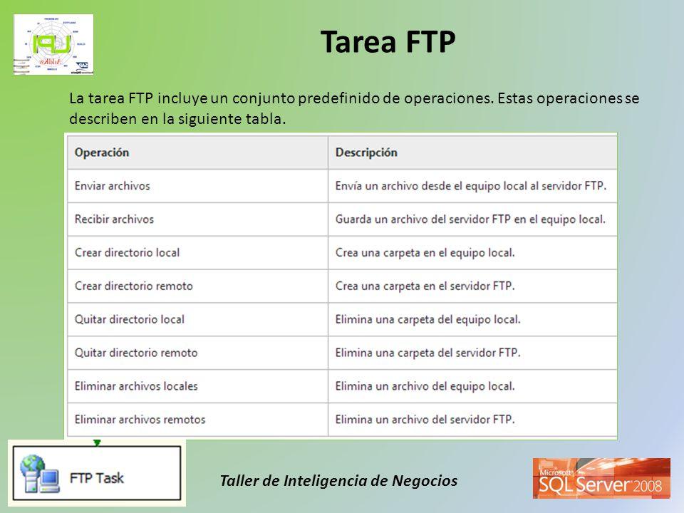 Taller de Inteligencia de Negocios Tarea FTP La tarea FTP incluye un conjunto predefinido de operaciones. Estas operaciones se describen en la siguien