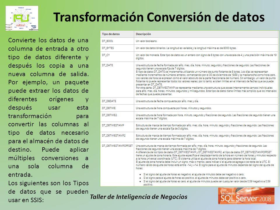 Taller de Inteligencia de Negocios Convierte los datos de una columna de entrada a otro tipo de datos diferente y después los copia a una nueva column
