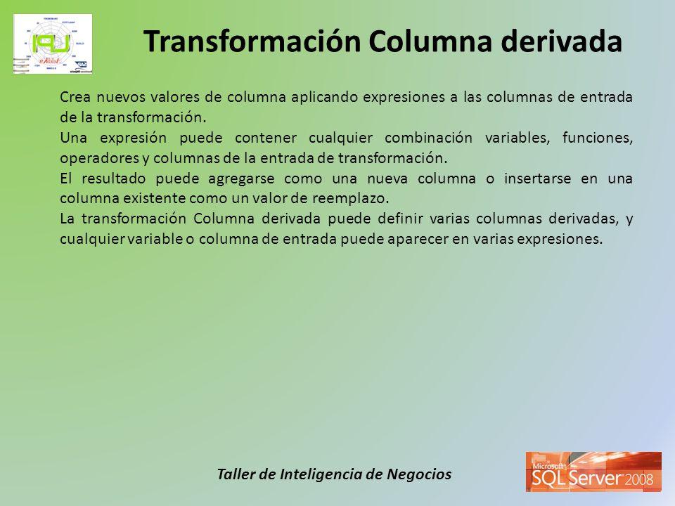 Taller de Inteligencia de Negocios Crea nuevos valores de columna aplicando expresiones a las columnas de entrada de la transformación. Una expresión