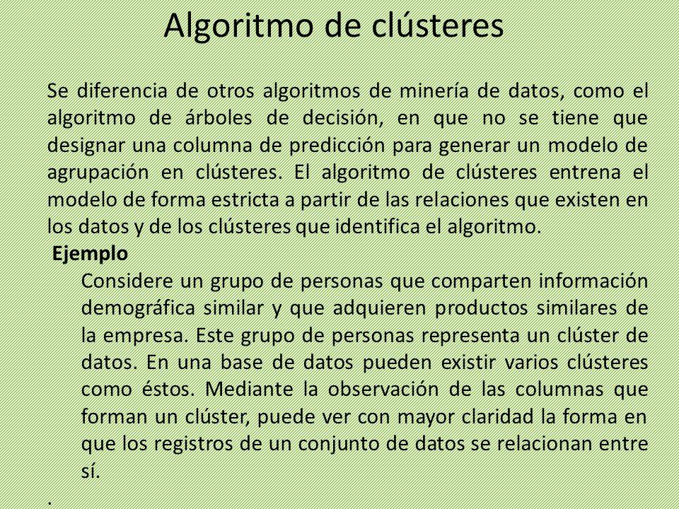 Se diferencia de otros algoritmos de minería de datos, como el algoritmo de árboles de decisión, en que no se tiene que designar una columna de predic