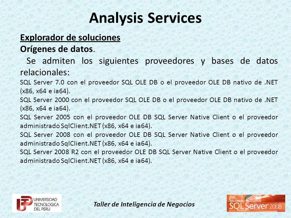 Taller de Inteligencia de Negocios Explorador de soluciones Orígenes de datos. Se admiten los siguientes proveedores y bases de datos relacionales: SQ