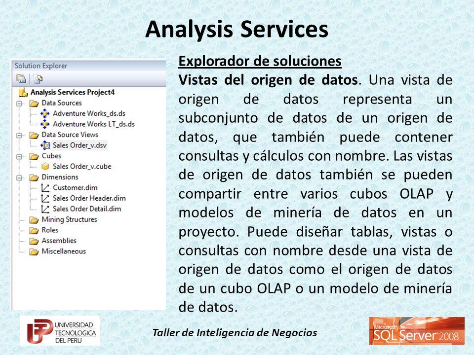 Taller de Inteligencia de Negocios Explorador de soluciones Vistas del origen de datos. Una vista de origen de datos representa un subconjunto de dato