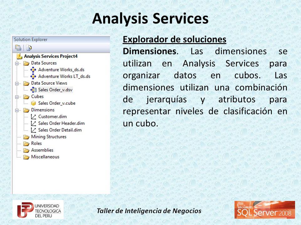 Taller de Inteligencia de Negocios Explorador de soluciones Dimensiones. Las dimensiones se utilizan en Analysis Services para organizar datos en cubo
