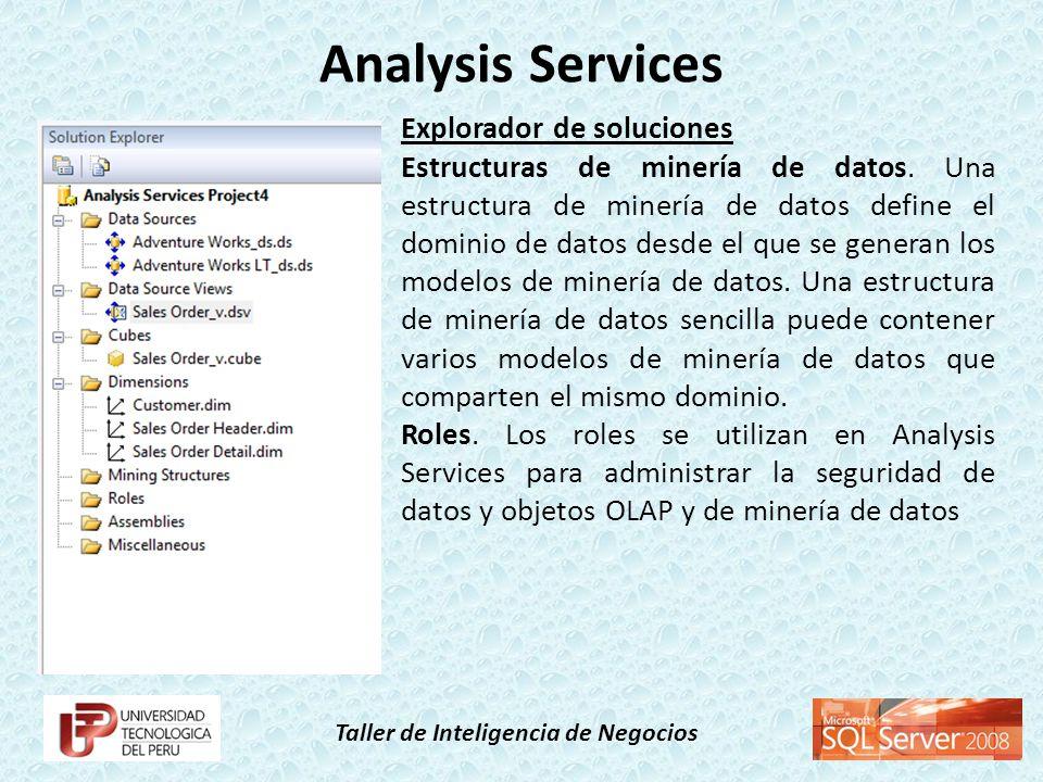 Taller de Inteligencia de Negocios Explorador de soluciones Estructuras de minería de datos. Una estructura de minería de datos define el dominio de d
