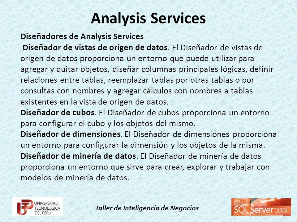 Taller de Inteligencia de Negocios Diseñadores de Analysis Services Diseñador de vistas de origen de datos. El Diseñador de vistas de origen de datos