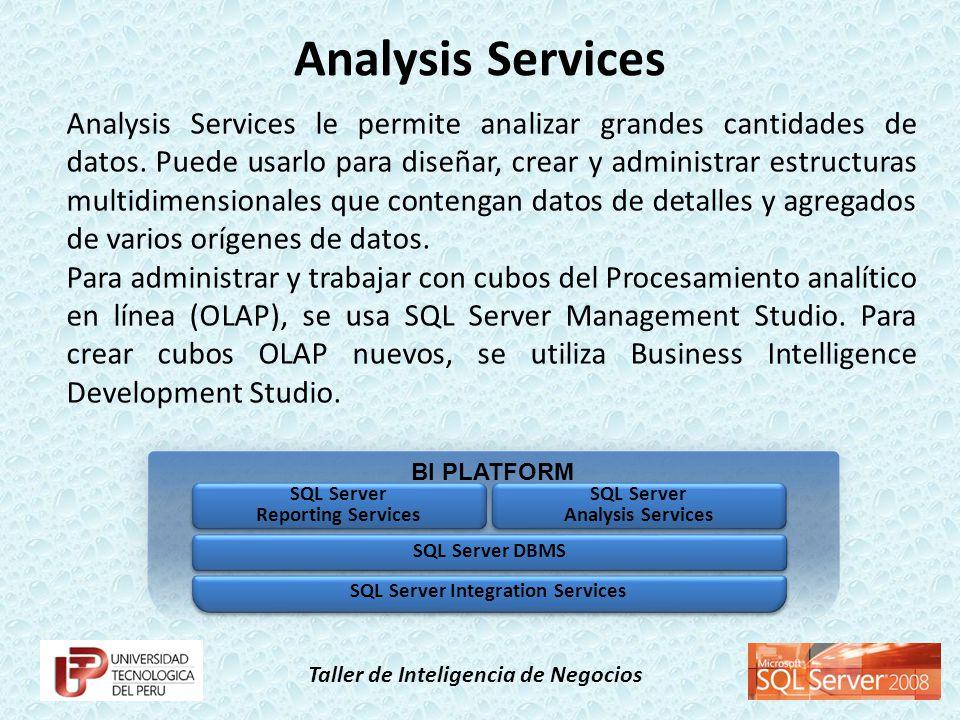 Taller de Inteligencia de Negocios Business Intelligence Development Studio es el entorno que utilizará para desarrollar cubos de Procesamiento analítico en línea (OLAP) y modelos de minería de datos en SQL Server Analysis Services.