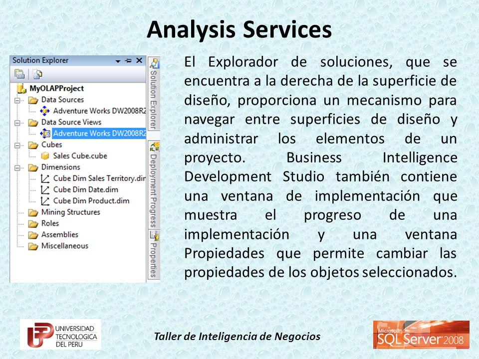 Taller de Inteligencia de Negocios A continuación se describen los componentes de Business Intelligence Development Studio que son exclusivos de Analysis Services.